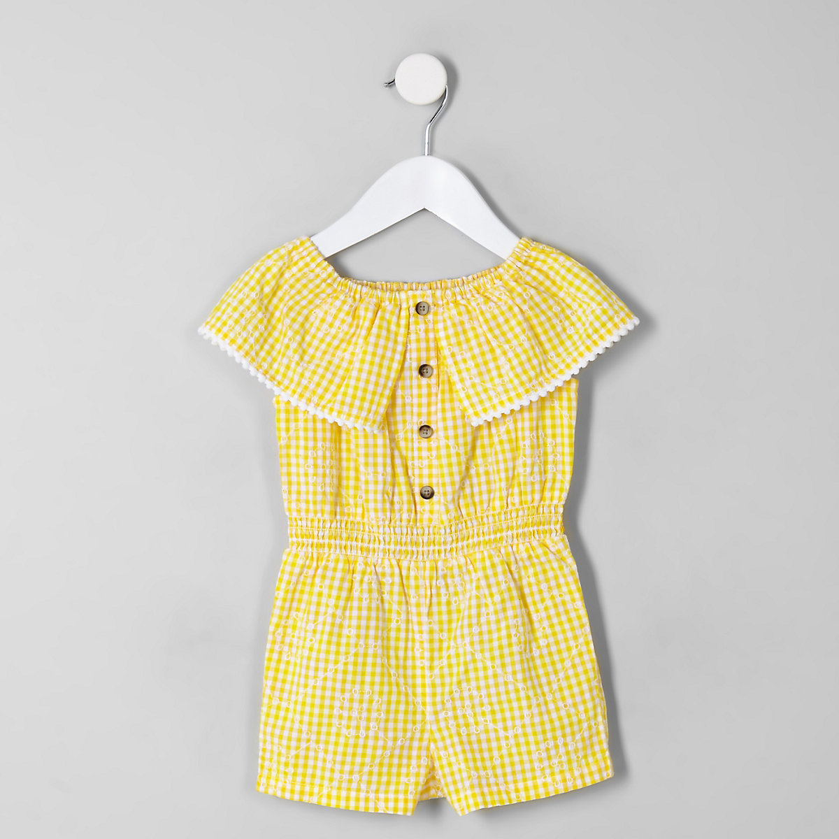 32cf9809b0a Mini girls yellow gingham bardot playsuit - Baby Girls Playsuits   Jumpsuits  - Mini Girls - girls
