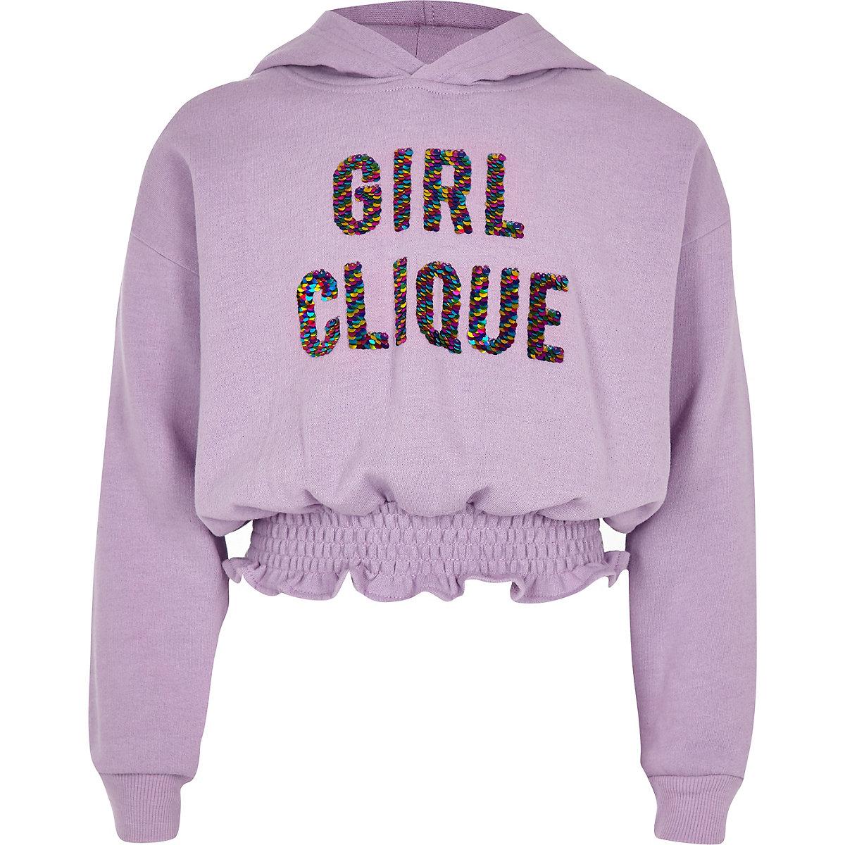 Girls purple 'Girl clique' sequin hoodie