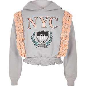 Girls grey 'NYC' lace trim hoodie