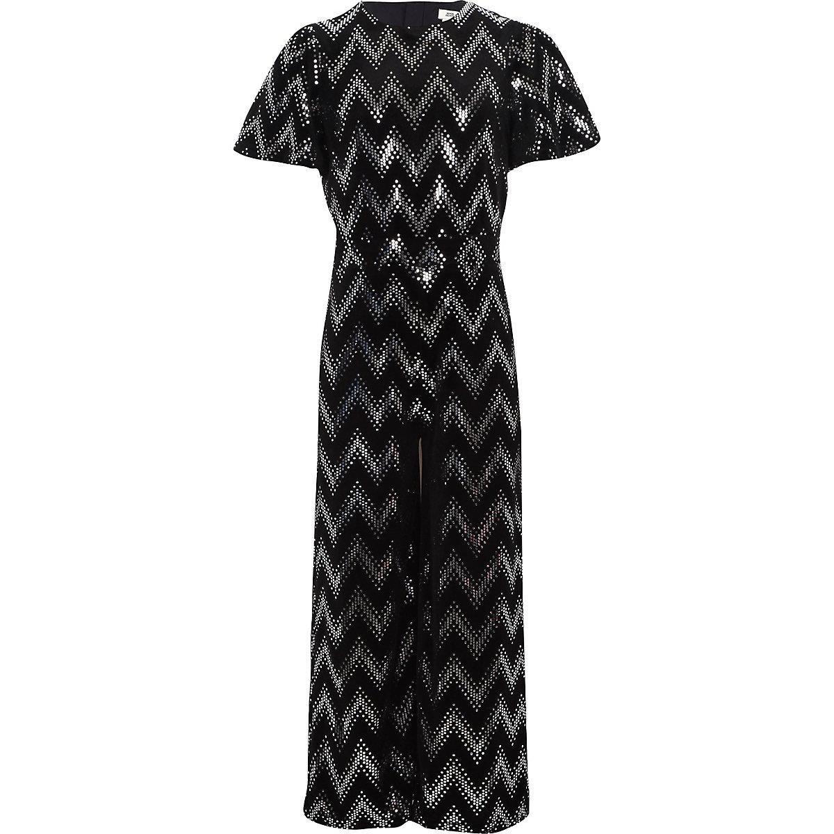 Girls black mirror sequin jumpsuit