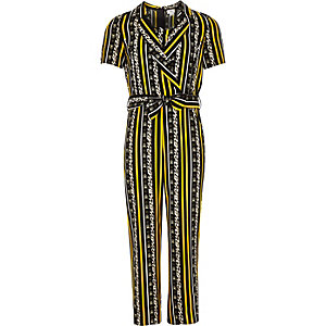 Girls yellow animal print stripe tux jumpsuit