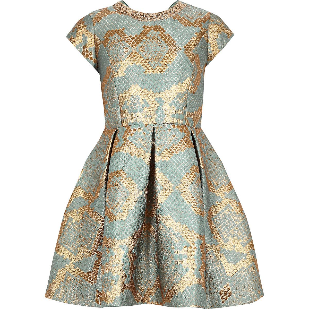 Girls gold snake print jacquard prom dress