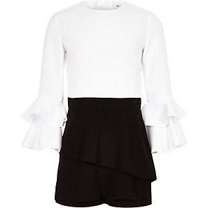 Girls black mono frill skort playsuit