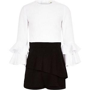 Combi-short jupe-short noir monochrome à volants fille