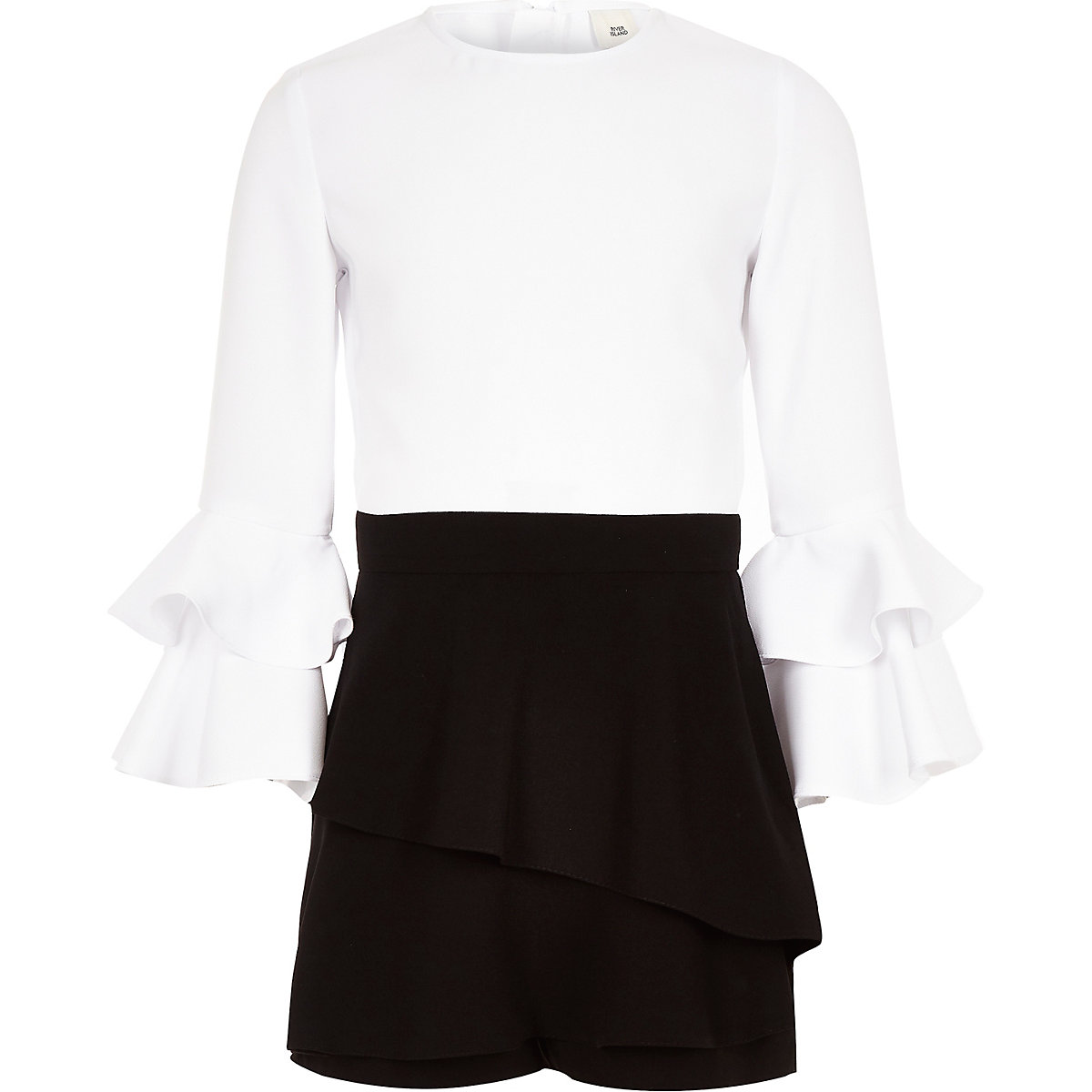 Girls black mono frill skort romper