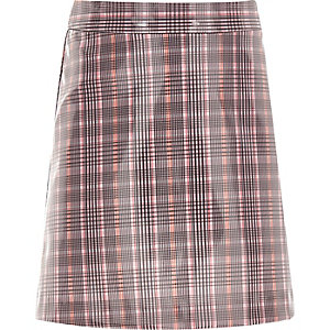 Mini-jupe à carreaux rose enduite pour fille