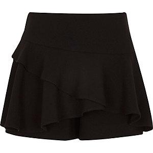 Girls black frill skort