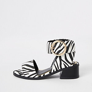 Girls white zebra print block heel sandals