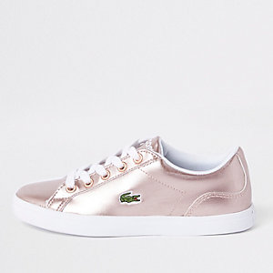 Girls Lacoste pink lace up trainers