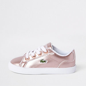 Mini girls Lacoste pink lace up trainers
