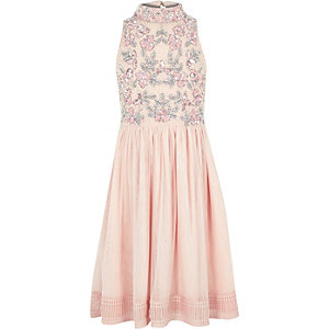 Girls pink floral sequin prom dress