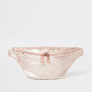 Girls pink sequin bumbag