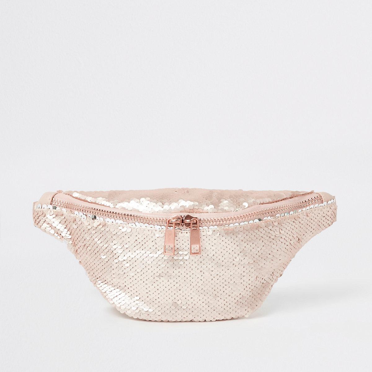Girls pink sequin bumbag