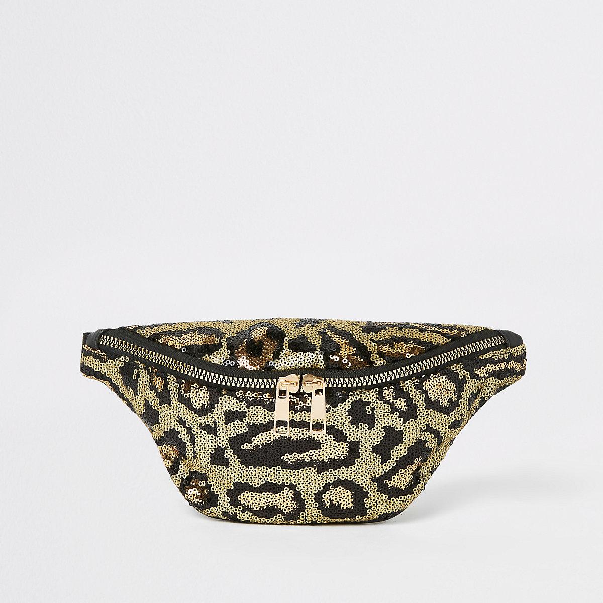 Girls leopard print sequin bumbag