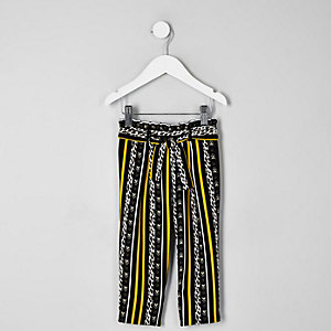 Mini - Zwarte broek met luipaardprint voor meisjes