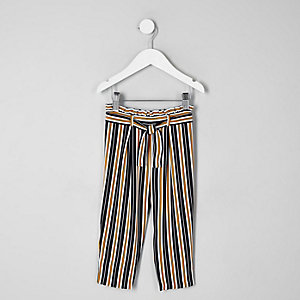 Mini girls navy stripe tie waist trousers