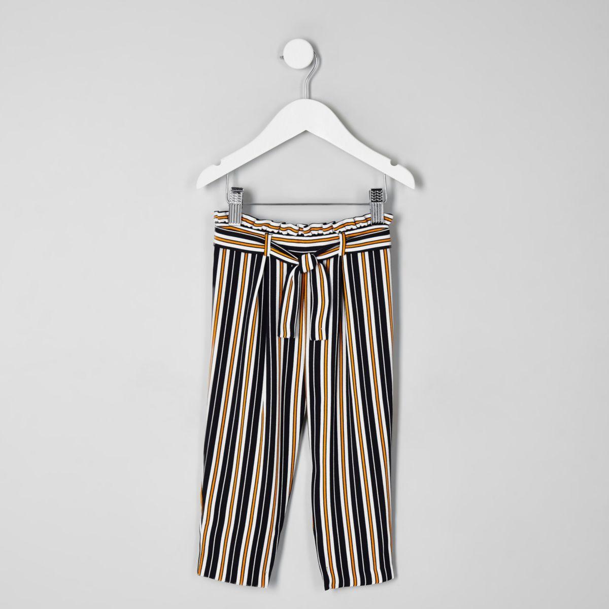 Mini girls navy stripe tie waist pants