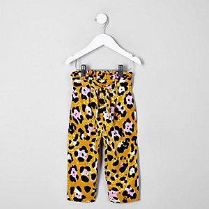 Mini girls brown leopard print trousers