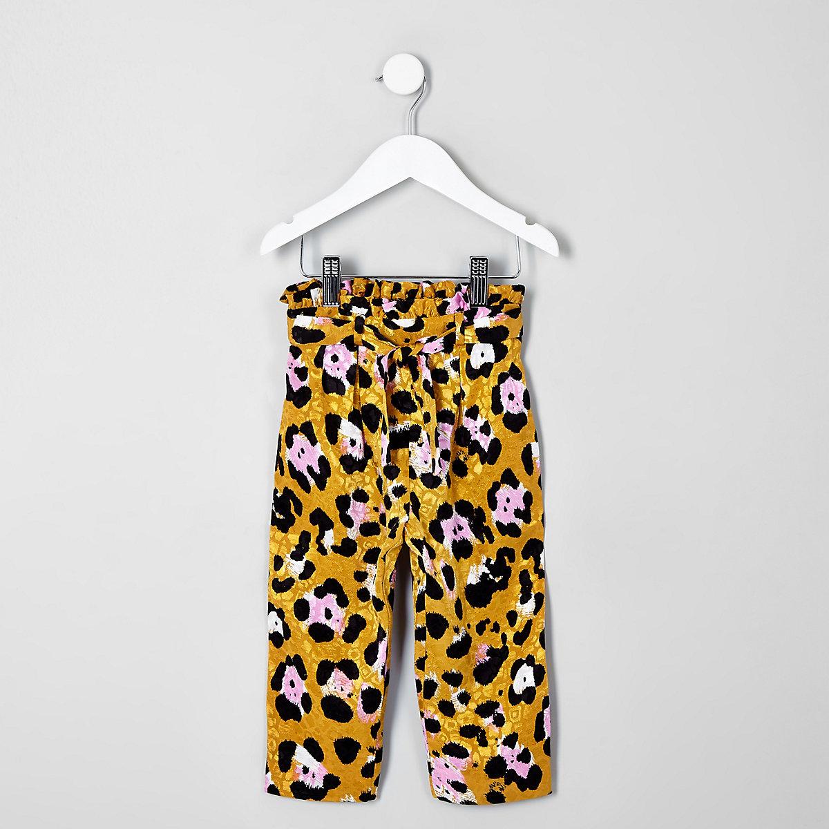 Mini girls brown leopard print pants
