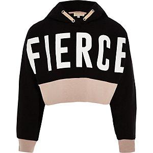 RI Active - Zwarte hoodie met 'Fierce'-print voor meisjes