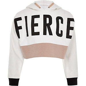 Girls RI Active white 'Fierce' hoodie