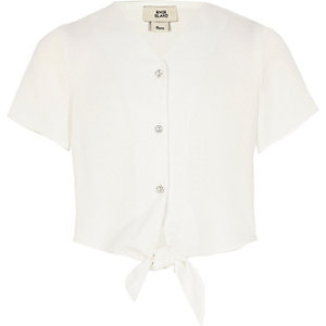 Girls white button tie front cropped top