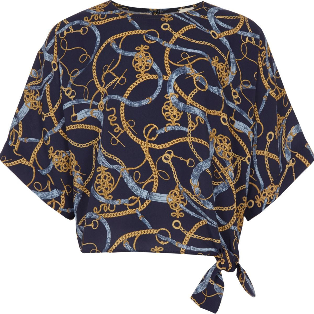 Girls navy chain print tie front T-shirt