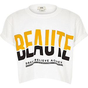 Girls white 'Beaute' cropped T-shirt