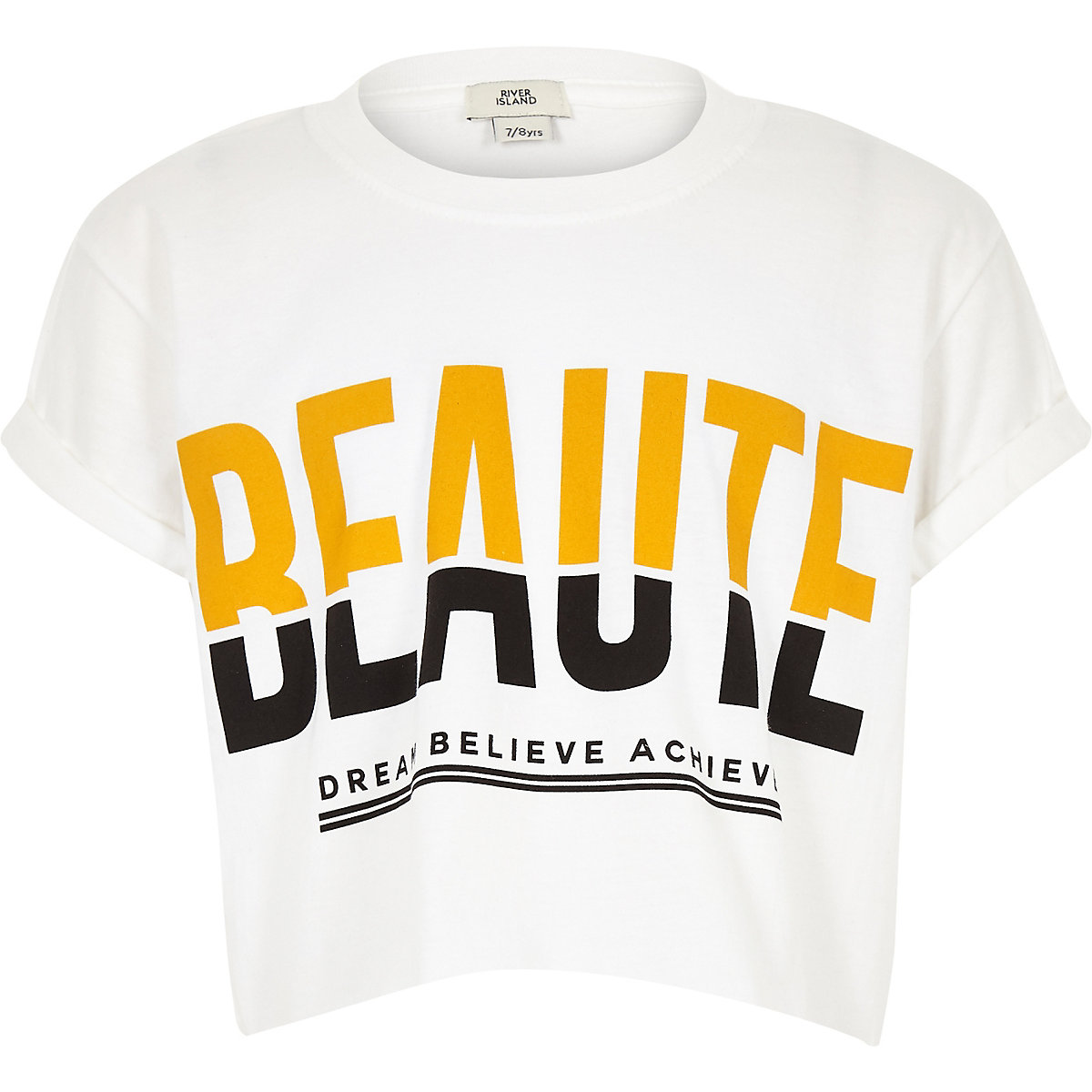 Girls white 'Beaute' cropped T-shirt