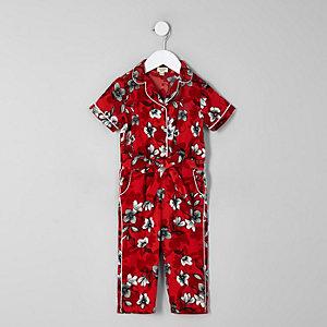 Mini - Rode gebloemde overhemd-jumpsuit voor meisjes