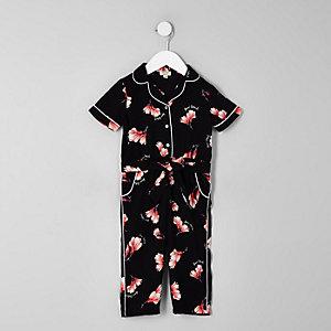 Mini - Zwartejumpsuit met bloemenprint voor meisjes