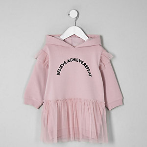 Mini girls purple hooded sweat dress