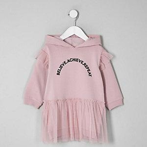 Robe sweat à capuche violette pour mini fille