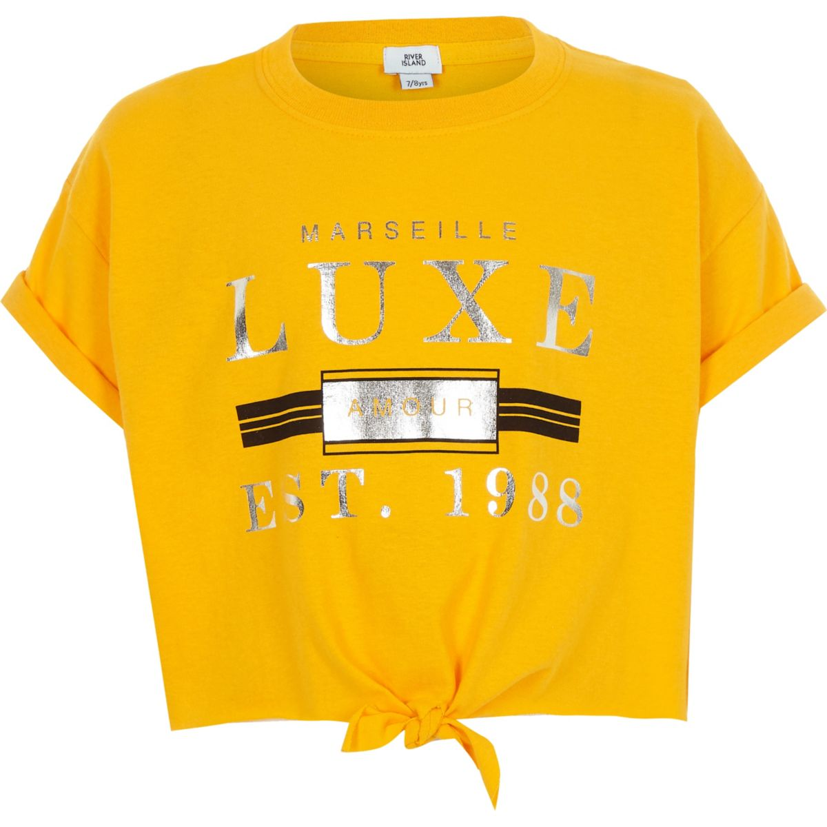 Girls yellow 'luxe' tie front T-shirt