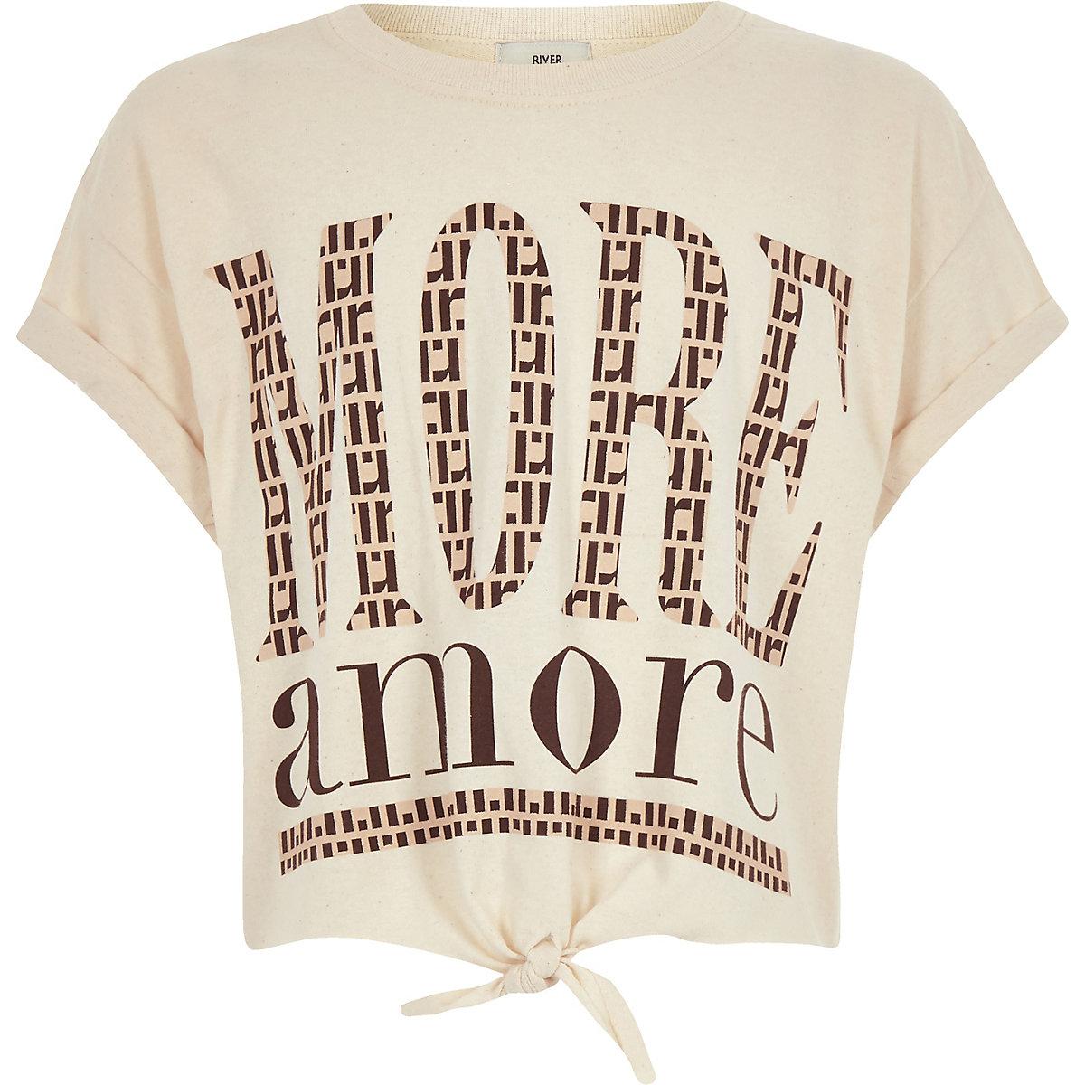 Girls beige print tie front cropped T-shirt