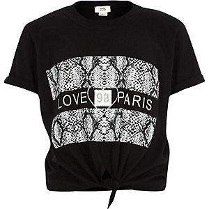 Zwart T-shirt met 'love paris'-print en strik voor meisjes