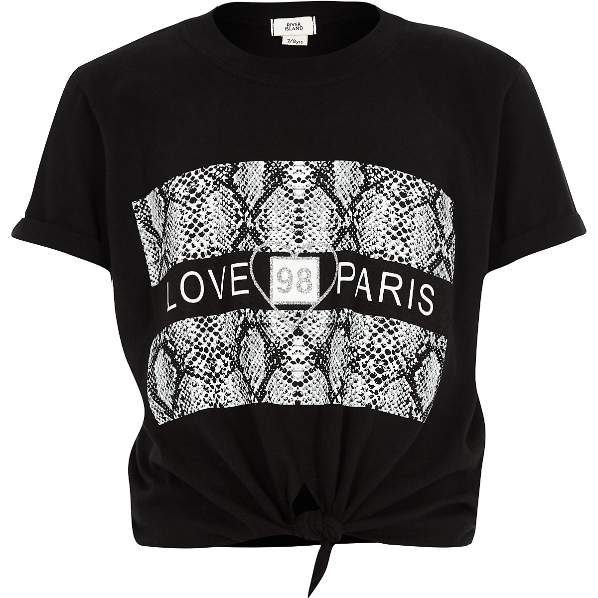 Girls black 'love paris' tie front T-shirt
