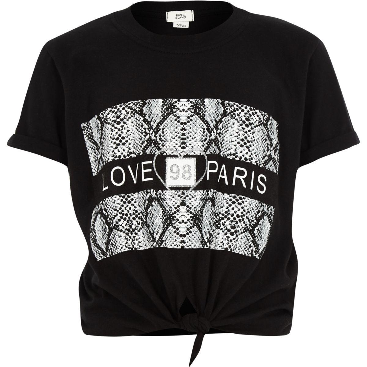 Girls black 'love paris' tie front T-shirt