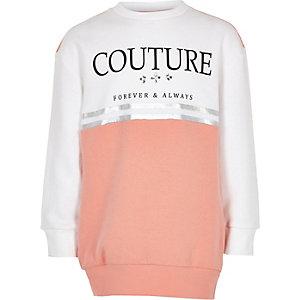 Sweat «Couture» colour block rose pour fille