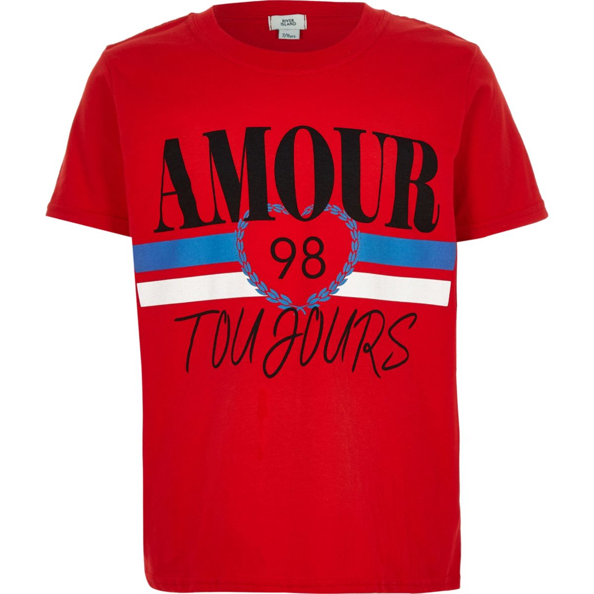 Girls red 'Amour Toujours' T-shirt