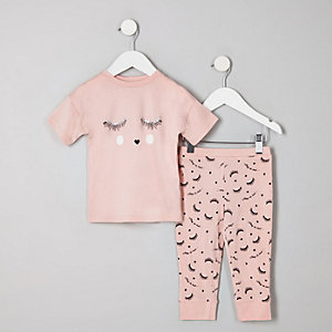 Pyjama « eyelash » rose mini fille
