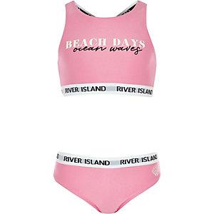 Roze tankiniset met 'beach days'-print voor meisjes