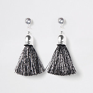 Girls black silver tone tinsel tassel earring
