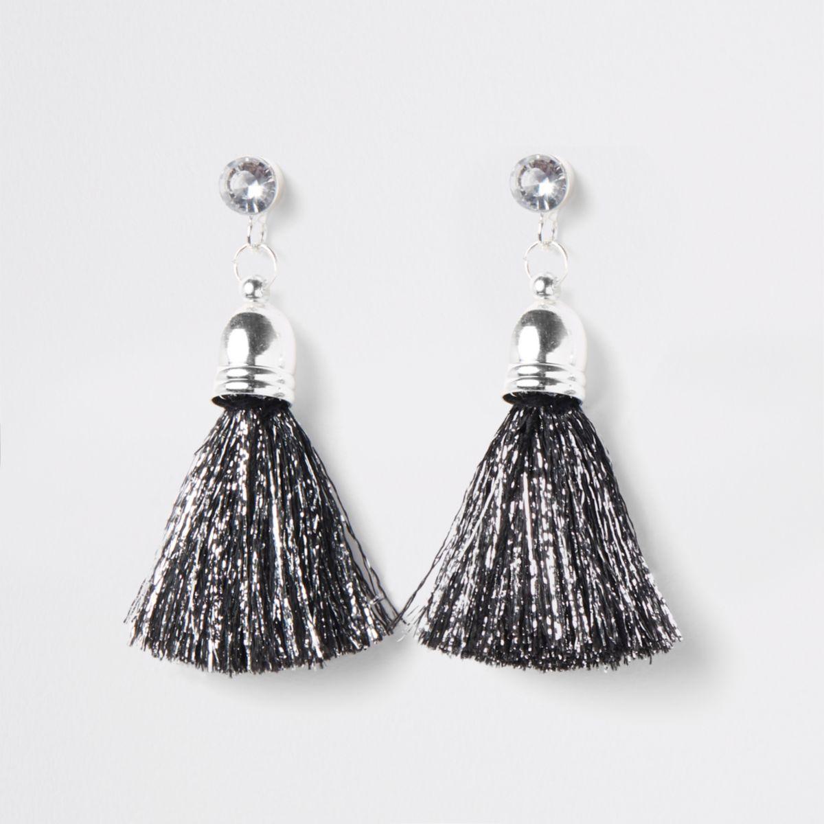 Girls black silver tone tinsel tassel earring
