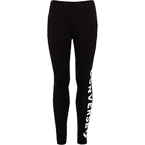 Girls black Converse logo leggings