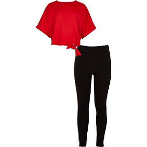 Girls red tie side T-shirt and legging outfit