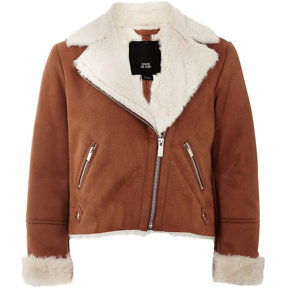 Girls brown faux suede fur trim biker jacket