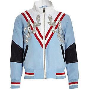 Girls blue sequin embellished bomber jacket