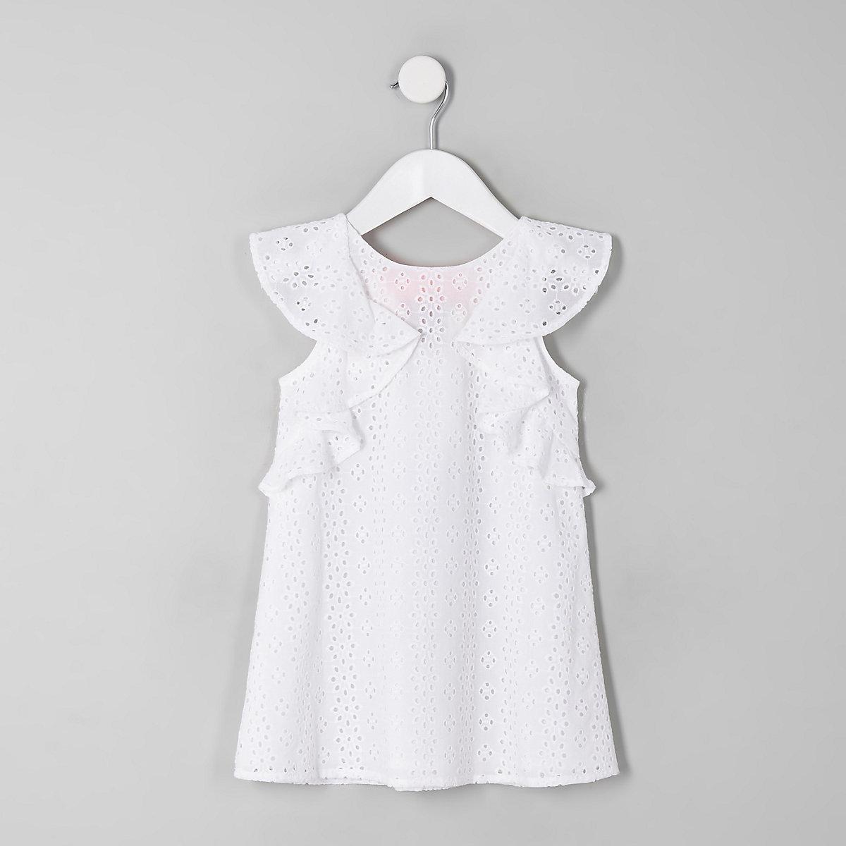 Mini girls cream broderie trapeze dress