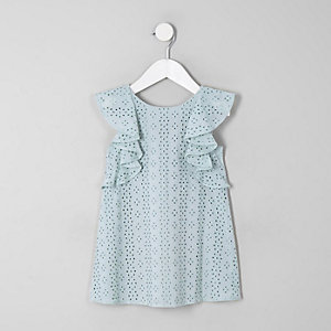 Mini girls mint green broderie trapeze dress